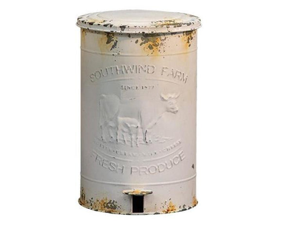 Trash Can, Farmhouse, White Trash Can, Wastebaskets, Home Decor, Trash Can with Lid, CWI, Mud Pie, JaBella Designs, Murfreesboro