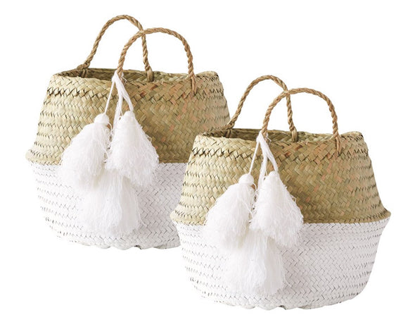 Palm leaf baskets, Storage basket set, Home organization, Boho chic, Farmhouse, Modern farmhouse, Fixer Upper style, Playroom storage, JaBella Designs