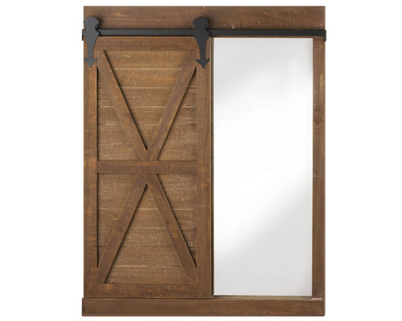 Brown farmhouse barn door mirror, Framed wall mirror with chalkboard, Rustic wall hanging, Entryway decor, Barn door decor, JaBella Designs, Fixer Upper style, Joanna Gaines, Murfreesboro