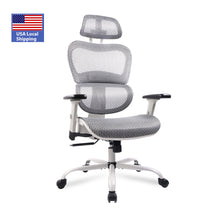 Load image into Gallery viewer, A88813 Ergonomics Mesh Chair ,Computer Chair, Desk Chair ,High Back Chair w/Adjustable Headrest and Armrests - Grey