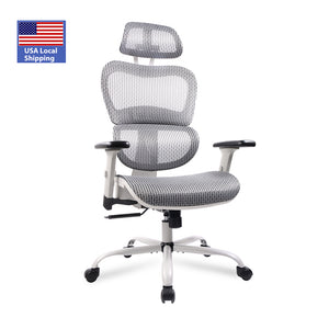 A88813 Ergonomics Mesh Chair ,Computer Chair, Desk Chair ,High Back Chair w/Adjustable Headrest and Armrests - Grey