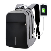 Load image into Gallery viewer, Smart and Durable Reflective Front Line Waterproof Backpack with USB and  Headphone Port, Laptop Compartment Anti-theft Lock