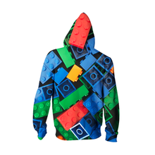 Load image into Gallery viewer, 3D Printed Unisex Blue Lego Style Zip Up  Hoodie