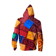 Load image into Gallery viewer, 3D Printed Unisex Red Lego Style Zip Up  Hoodie