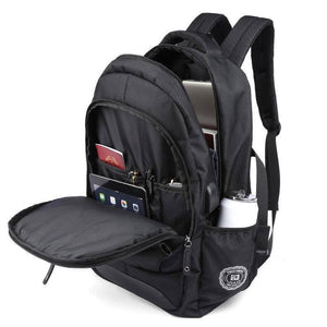 New Waterproof Black Backpack with USB and Phone Ports