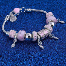 Load image into Gallery viewer, Charm  Bracelets Murano Beads Pink Crystal