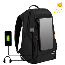 Load image into Gallery viewer, Multi-function 7W Solar Panel Powered Comfortable Breathable Casual Backpack up to 15'Laptop , External USB Charging Port & Earphone Port