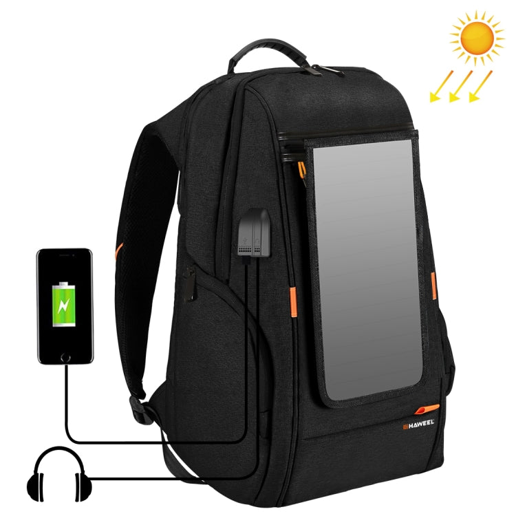 Multi-function 7W Solar Panel Powered Comfortable Breathable Casual Backpack up to 15'Laptop , External USB Charging Port & Earphone Port