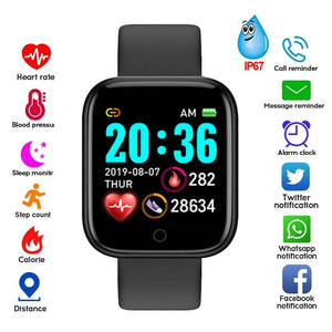 D20 Smart Watch Men Women Smartwatch Blood Pressure Monitor Waterproof Smart Watches Heart Rate Tracker Clock For Android IOS