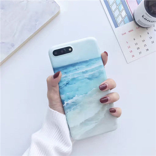 Sea Blue Ocean Phone Case For iPhone 6 6S Soft Wave Beach Matte Cases For iphone 6 s plus 7 8 Plus X TPU Art Cover
