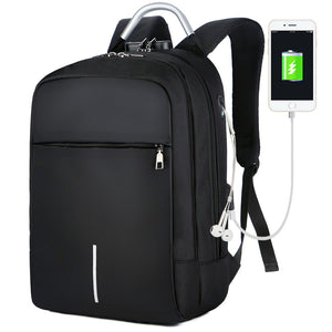Fashionable Waterproof Backpack with Anti-theft Lock,USB and Headphone Ports, Laptop Pocket
