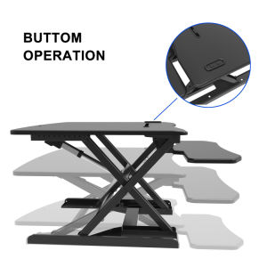 GIBBON Electric Height Adjustable Standing Desk Converter - Sit to Stand Power Riser Black Tabletop Workstation Fits Dual Monitor