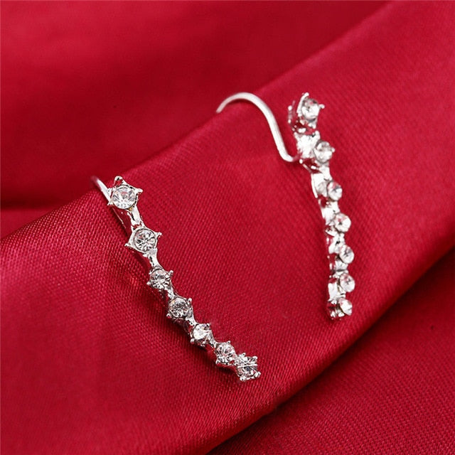 New Fashion Crystal Rhinestone Ear Cuff Wrap Stud Clip Earrings for Women
