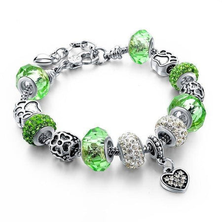 Silver Plated  Crystal&Glass Beads Charm Bracelets