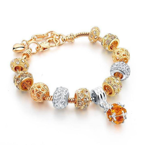 Charm Bracelets With Yellow Сrystal , Vintage Beads,Gold Plated