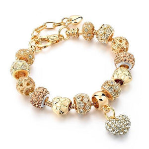 Crystal Heart Charm Gold Plated Bracelet
