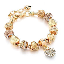 Load image into Gallery viewer, Crystal Heart Charm Gold Plated Bracelet