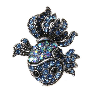 Vintage Cute Blue Crystal Fish Brooches