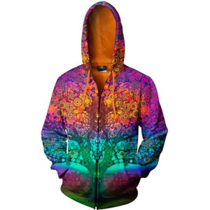3D Magic Tree Zipped Unisex Hoodie
