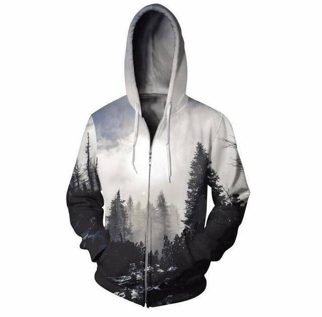 3D Black and White Forest Zipped Unisex Hoodie