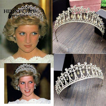 Load image into Gallery viewer, Princess Diana Crown Crystal and Pearl for Bridal Hair Accessories and Bridal Tiara