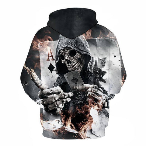 Image of 3D  Skull Poker Zipped Hoodie