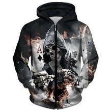 Load image into Gallery viewer, 3D  Skull Poker Zipped Hoodie