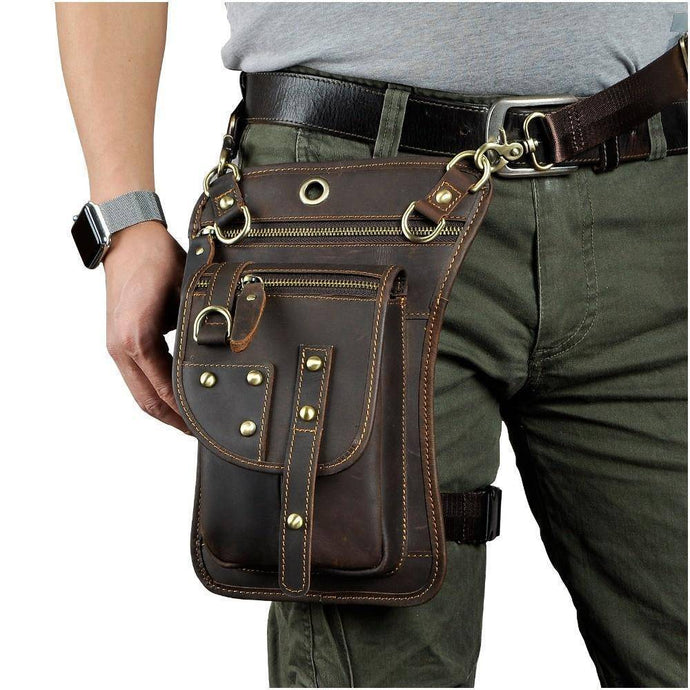 Genuine Leather Waist Drop Leg  Messenger Bag