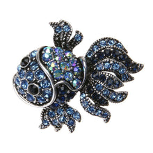 Load image into Gallery viewer, Vintage Cute Blue Crystal Fish Brooches