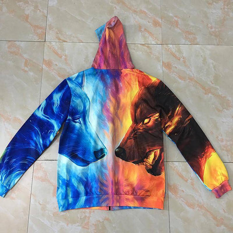 Image of 3D Wolf Zipped  Unisex Hoodies