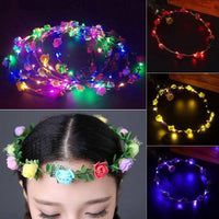 Flower Headband LED Light Up Hair Wreath Garlands For Wedding