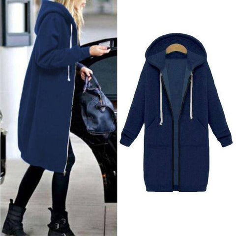 Image of Autumn Winter Long Zip-up Hooded Jacket