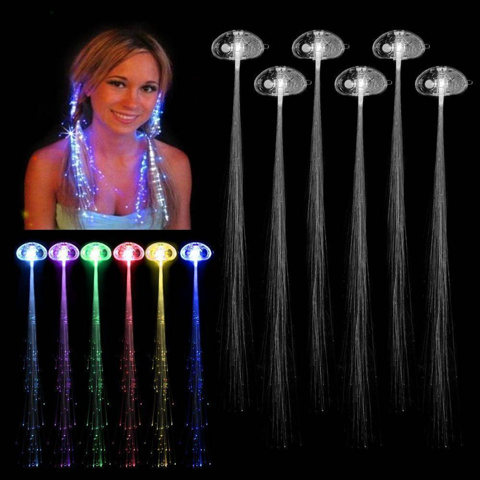 5 Colors LED Light Up Fiber Optic Extensions Glow Hair Party Rave Flashing Club