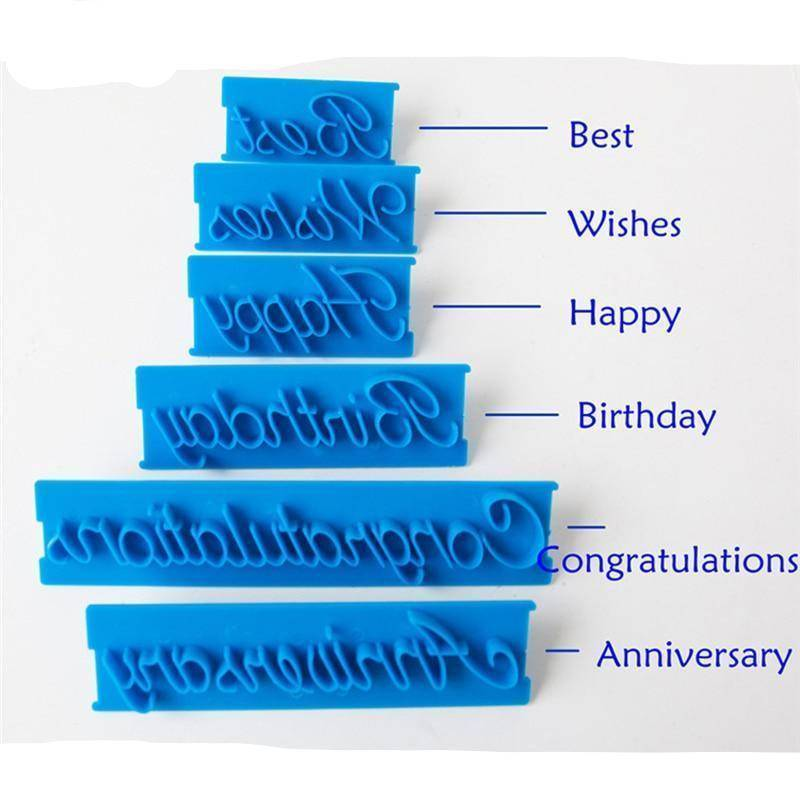 6pcs/set  Plastic Letters Mold Happy Birthday .Wishes Anniversary .