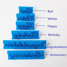 Load image into Gallery viewer, 6pcs/set  Plastic Letters Mold Happy Birthday .Wishes Anniversary .
