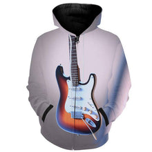 Load image into Gallery viewer, Unisex 3D Guitar Design#2 Zip Up Hoodies