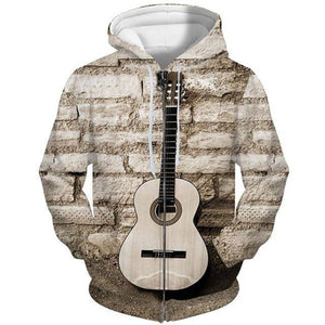 Unisex 3D Guitar Design#2 Zip Up Hoodies