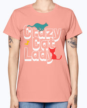 Load image into Gallery viewer, Gildan Ladies Missy T-Shirt. Crazy cat lady