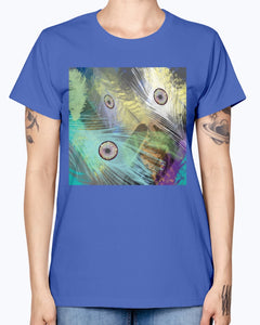 Gildan Ladies Missy T-Shirt 16 colors    Peacock feathers