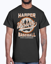 Load image into Gallery viewer, Men's Gildan Ultra Cotton T-Shirt 12 Dark colors. Harper Wolves Baseball State Championship