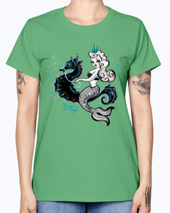 Gildan Ladies Missy T-Shirt. Mermaid Riding A Seahorse