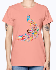 Gildan Ladies Missy T-Shirt 16 colors         Chromatic Peacock 2 No Background