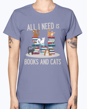 Load image into Gallery viewer, Gildan Ladies Missy T-Shirt. BOOKS AND CATS