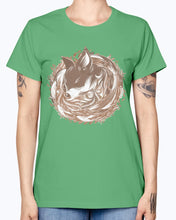 Load image into Gallery viewer, Gildan Ladies Missy T-Shirt 16 colors  A fox at the Burrow