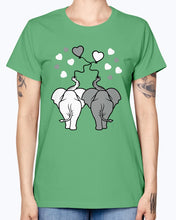 Load image into Gallery viewer, Gildan Ladies Missy T-Shirt  Asphalt elephants in love
