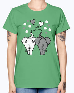 Gildan Ladies Missy T-Shirt  Asphalt elephants in love