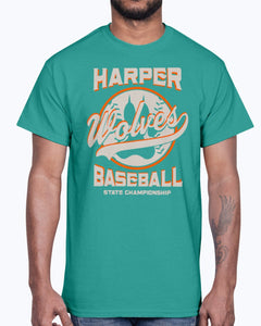 Men's Gildan Ultra Cotton T-Shirt 12 Dark colors. Harper Wolves Baseball State Championship