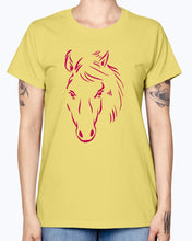Load image into Gallery viewer, Gildan Ladies Missy T-Shirt.   Horse drawing