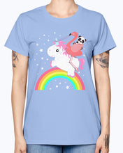 Load image into Gallery viewer, Gildan Ladies Missy T-Shirt  Cute Funny Unicorn Flamingo Panda Rainbow