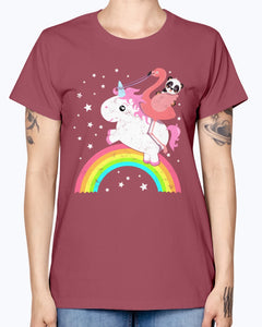 Gildan Ladies Missy T-Shirt  Cute Funny Unicorn Flamingo Panda Rainbow